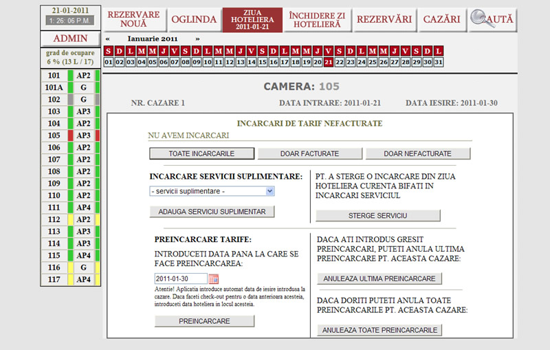 serviciile evidentiate in aplicatia web hoteliera